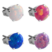 Pair of Surgical Steel Synthetic Opal Prong Set Ear Studs image