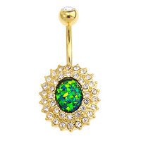 Opal Essence Gold Radiant Navel : 1.6mm (14ga) x 10mm x Light Green image
