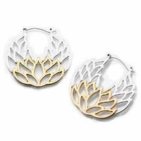 20g Silver and Rose Gold Lotus Web Plug Hoop image