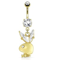 Playboy Bunny Jewelled Navel : 14g x 10mm Gold Plated image