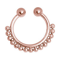 PVD Rose Gold Fake Septum Ring with Single Ball Chain image