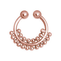 PVD Rose Gold Fake Septum Ring with Double Ball Chain image