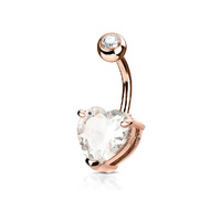 14k Rose Gold Plated Heart Jewelled Navel image