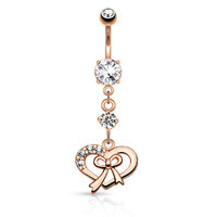 14k Rose Gold Plated Gem Paved Ribbon and Heart Navel image