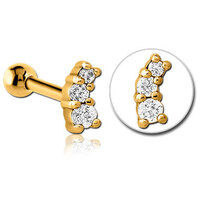 Bright Gold Decorative Triple Gem Micro Barbell : 1.2mm (16ga) x 6mm image