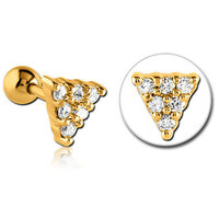 Bright Gold Decorative Jewelled Triangle Micro Barbell : 1.2mm (16ga) x 6mm image