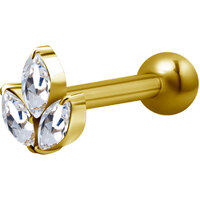 Bright Gold Decorative Jewelled Lotus Micro Barbell : 1.2mm (16ga) x 6mm Clear Crystal image