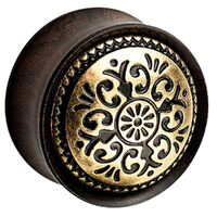 Ebony Wood Plug with Brass Antique Pattern image
