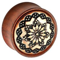 Rose Wood Plug with Brass Floral Pattern image