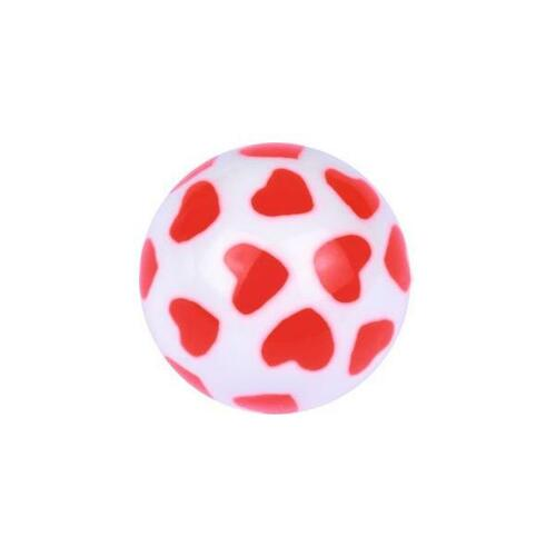 Acrylic Playing Card Ball - Hearts : 1.6mm (14ga) x 5mm