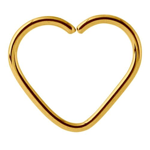 Bright Gold Annealed Heart Continuous Ring : 1.2mm (16ga) x 10mm