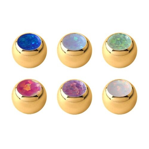 Bright Gold Jewelled Ball with Synthetic Opal : 1.2mm (16ga) x 3mm x Dark Blue