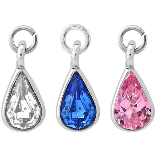 Steel Tear Drop Jewelled Barbell Charm : Clear Crystal