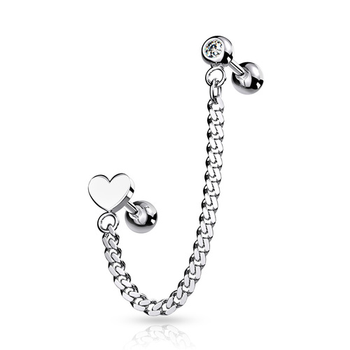 Steel Jewelled Barbell with Chain Linked Symbol : 1.2mm (16ga) x 6mm x Heart