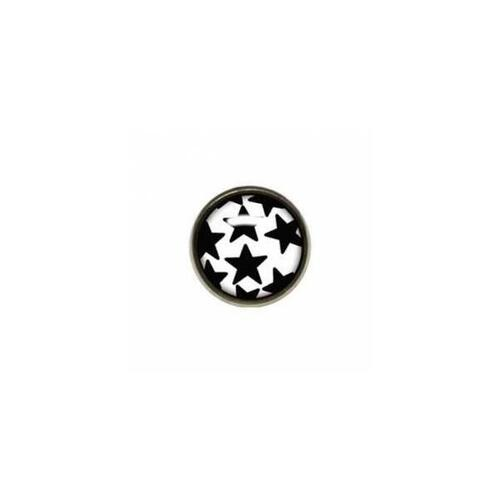 Titanium Highline® Black Stars on White Ikon Disc for Dermal Anchors : 1.6mm (14ga) x 3.2mm x Black/White