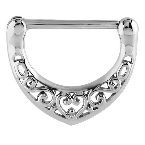 Steel Filigree Heart Nipple Clicker : 14g ( 1.6mm) x 14mm