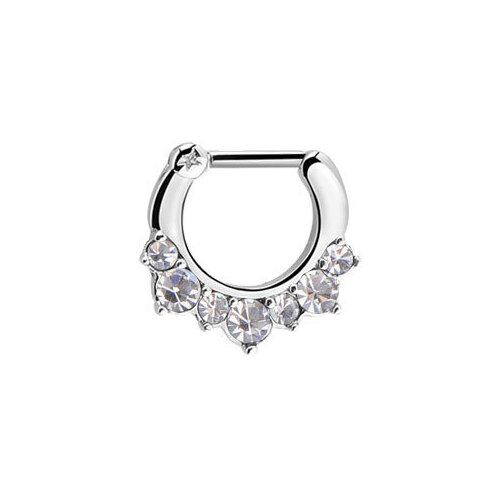 Surgical Steel Prong Set Jewelled Septum Clicker : 1.2mm (16ga) x 8mm x Clear Crystal