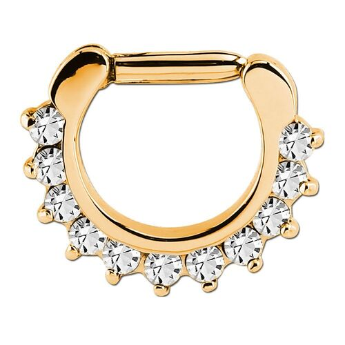 Bright Gold Prong Set Jewelled Septum Clicker : 1.2mm (16ga) x 6mm x Clear Crystal