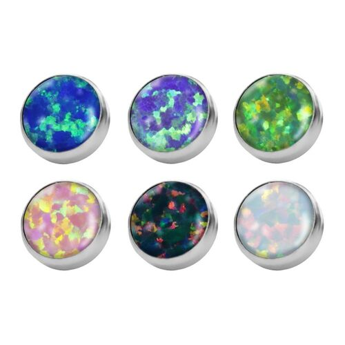 Titanium Opal Discs for Internally Threaded Jewellery : 4mm x Green