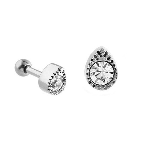 Surgical Steel Jewelled Tear Tragus Micro Barbell : 1.2mm (16ga) x 6mm
