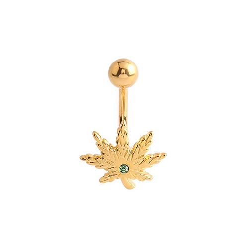 Fashion Navel - Bright Gold Jewelled Pot Leaf : 1.6mm (14ga) x 10mm x Light Green