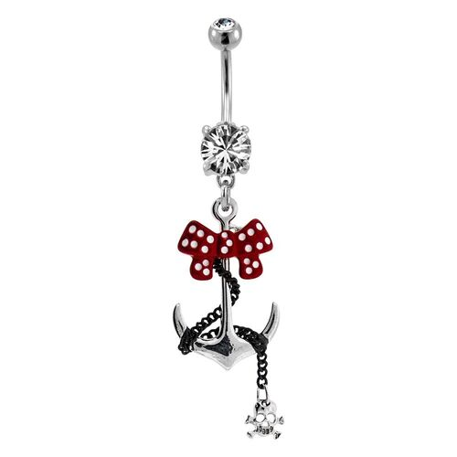 Fashion Navel - Red Anchor Bow : 1.6mm (14ga) x 10mm