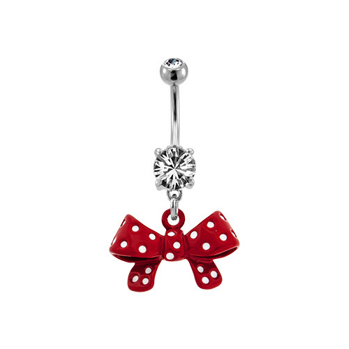 Fashion Navel - Red Bow : 1.6mm (14ga) x 10mm