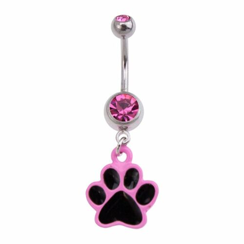 Black and Pink Enamel Paw Fashion Navel : 1.6mm (14ga) x 10mm