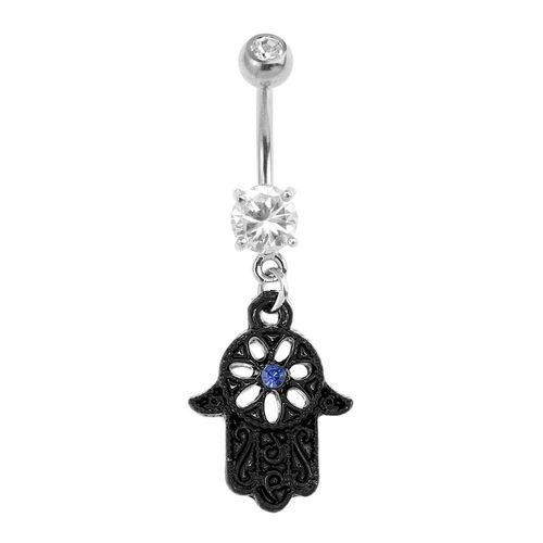 Black Beaded Outline Hamsa Fashion Navel : 1.6mm (14ga) x 10mm
