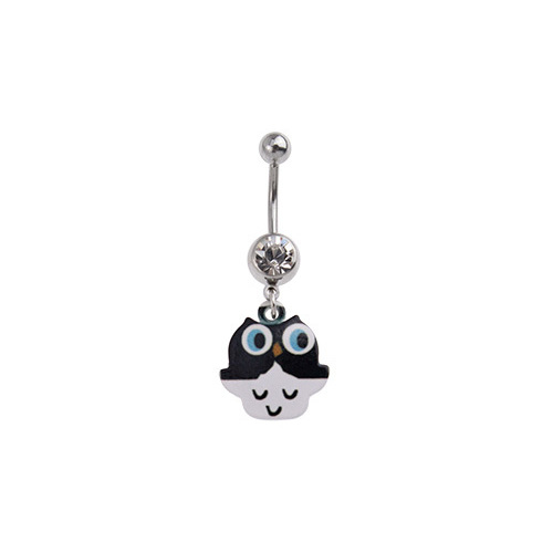 Black and White Owl Charm Fashion Navel : 1.6mm (14ga) x 10mm x Clear Crystal