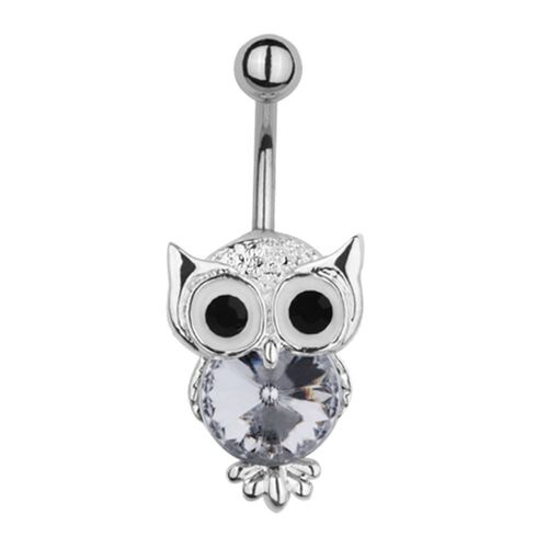 Surgical Steel Jewelled Owl Fashion Navel : 1.6mm (14ga) x 10mm