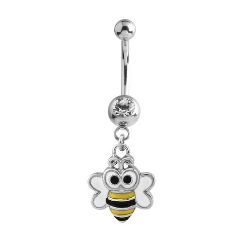 Bumble Bee Jewelled Fashion Navel : 1.6mm (14ga) x 10mm x Clear Crystal