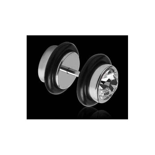 Steel Fake Jewelled Plug : 8mm CZ