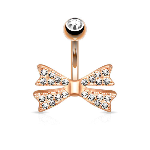14k Rose Gold Plated Gem Paved Bow Tie Navel : 1.6mm (14ga) x 10mm