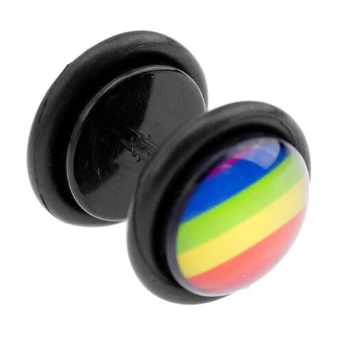 Pride Rainbow Print Fake Plug : 1.2mm (16ga) x 6mm