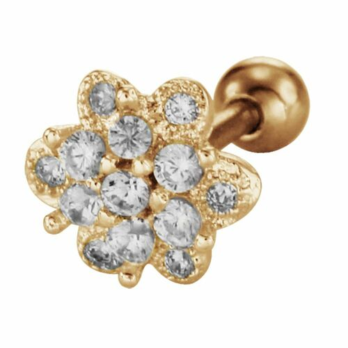 Gold PVD Steel Barbell with Jewelled Eternity Flower : 1.2mm (16ga) x 6mm