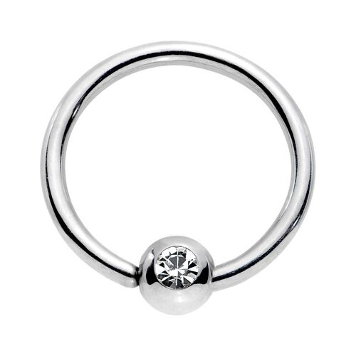 Jewelled Surgical Stainless Steel Fixed Ball Closure Rings : 1.2mm (16ga) x 10mm x Clear Crystal