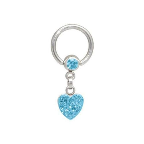 Steel Basicline® Crystal Heart Ball Closure Ring : 1.6mm (14ga) x 10mm x Light Blue
