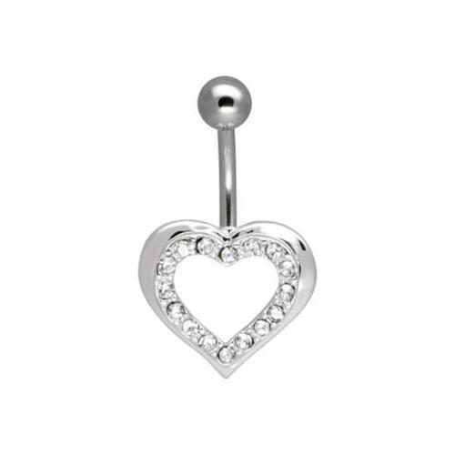 Steel Basicline® Jewelled Sweet Heart Kittenbell : 1.6mm (14ga) x 10mm