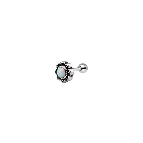 Synthetic Opal Flower Tragus Barbell : 1.2mm (16ga) x 6mm x White