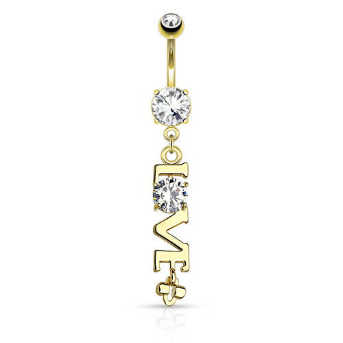 14k Gold Plated Love Navel : 1.6mm (14ga) x 10mm
