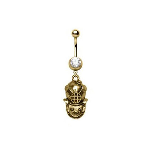 Surgical Stainless Steel Gold Plated Antique Diver Helmet Navel : 1.6mm (14ga) x 10mm