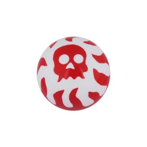 Acrylic Flaming Skull Threaded Ball : 1.6mm (14ga) x 6mm x Red