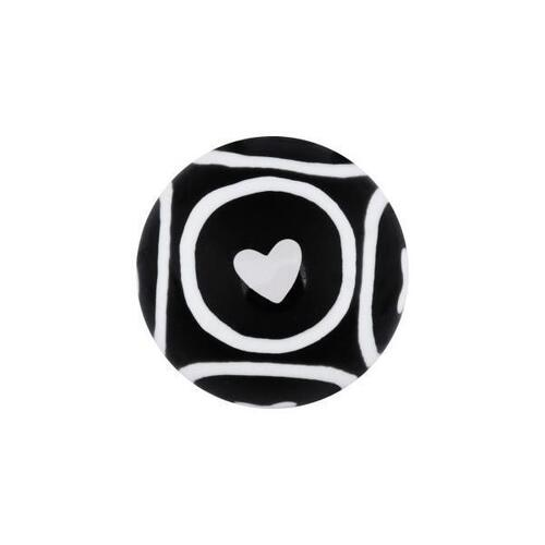 Acrylic Circle Hearts Threaded Ball : 1.6mm (14ga) x 5mm x Black/White
