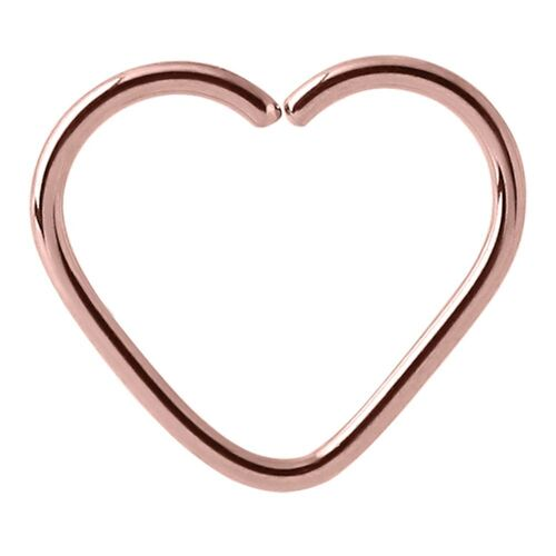 Rose Gold Annealed Heart Continuous Ring : 1.2mm (16ga) x 8mm
