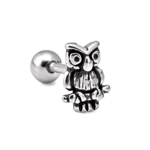 Steel Decoratve Barbell with Owl Charm : 1.2mm (16ga) x 8mm