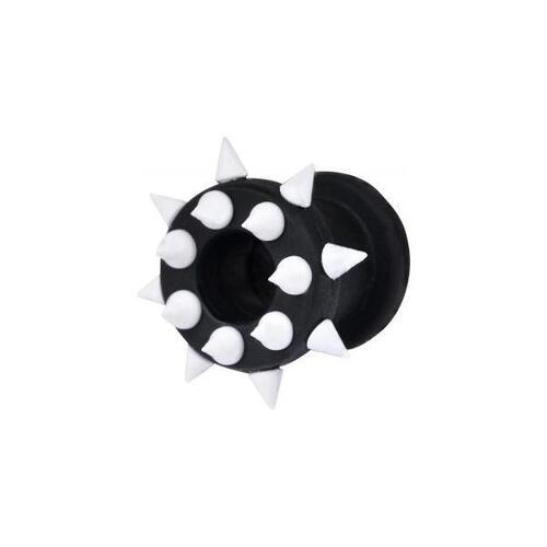 Silicone Spiked Tunnel : 6mm x White/Black