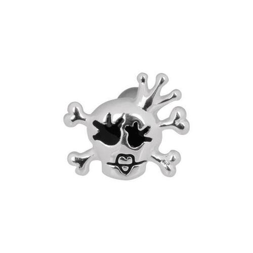 Steel Basicline® Silver Skull with Crown Labret