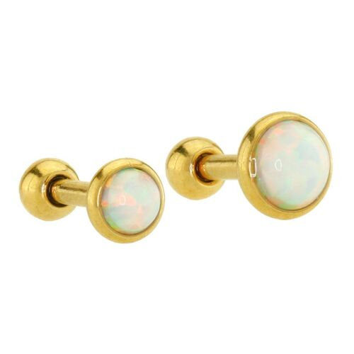 Gold Plated Opal Cabochon Disc Barbell : 1.2mm (16ga) x 6mm x 4mm x White