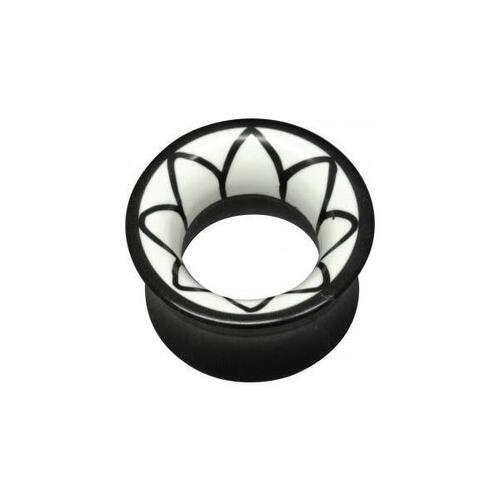 Flared White Flower Buffalo Horn Tunnel : 16mm